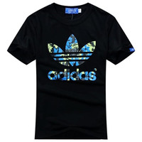 """Adidas"" Casual Letter Print Short Sleeve Shirt Top Tee Couple T-shirt"