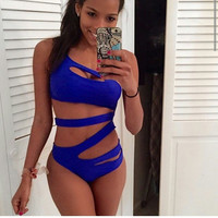 Oblique Shoulder Cut-Out Monokini