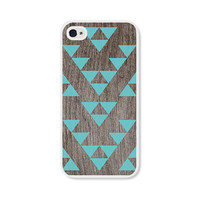 Geometric Apple iPhone 4 Case - Plastic iPhone 4s Case - Triangle Wood Tribal Southwest iPhone Case Skin - Turquoise Brown For Him