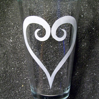 CLEARANCE Kingdom Hearts etched pint glass tumbler