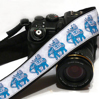 Lucky Elephants Camera Strap. Blue and White Camera Strap.  DSLR Camera Strap. Canon, Nikon Camera Strap. Women Accessories
