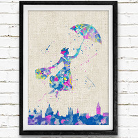 Mary Poppins Disney Watercolor Art Poster Print, Baby Girl Nursery Decor, Kids Room Decor, Wall Art Not Framed, Buy 2 Get 1 Free!