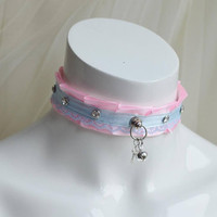 Premade Ddlg collar - Crystal princess - fairy kei harajuku little kitten play play cute choker - kittenplay lolita  pink necklace nekollars