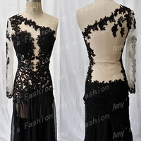 Stunning Black Mermaid One Shoulder Long Sleeve Sheer Back Sexy Prom Dress,Cheap Long Sleeve Prom Dresses,Prom Dress,Sexy Prom Dresses