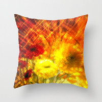 Flowers, Light, Yellow, Red, Joy - Decorative Throw Pillow Cover, 3 Sizes Available - Nursery, Home or Office, Gift - Made To Order - J#77