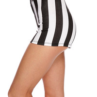 Black White Striped Zip Up High Waist Shorts