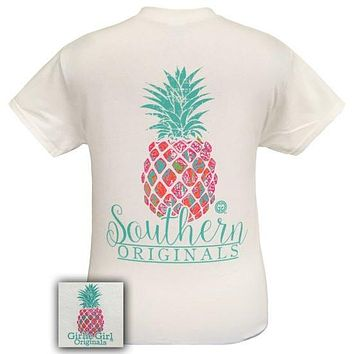 Girlie Girl Southern Originals Preppy Pineapple White T-Shirt
