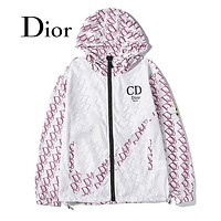 DIOR Hot Sale Men Women Fashion Print Zipper Cardigan Jacket Coat Windbreaker