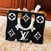 Louis Vuitton LV Autumn Winter Popular Women Shopping Fur Handbag Satchel Crossbody Shoulder Bag Black