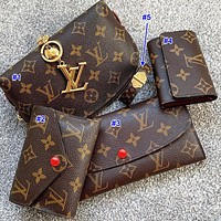 Inseva LV Louis vuitton sells a five-piece set of printed letter make-up bags for ladies, button purses, small keys, printed bracelets
