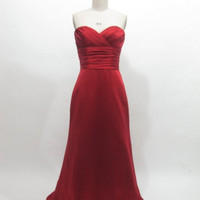 Red bridesmaid dress - long bridesmaid dress / satin bridesmaid dress plus size / cheap bridesmaid dress / red long evening dress in formal