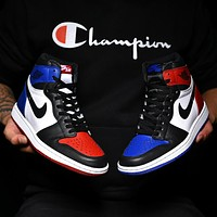 Nike Air Jordan Contrast Yin and Yang Sports High Tops shoes Blue&Red