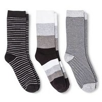Women's Crew Socks 3-Pack Extra Wide Stripe Black One Size - Merona™