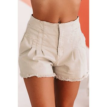 Too Soon To Tell High Waisted Utility Shorts (Cream)