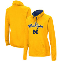 Michigan Wolverines Women's Funnel Neck Pullover Sweatshirt - Maize