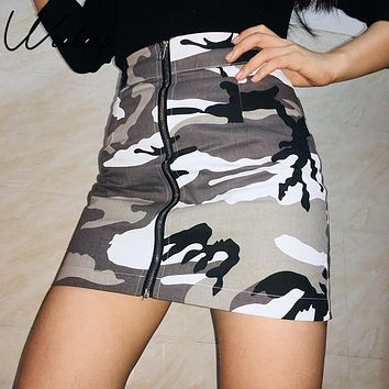 Weekeep Sexy Camouflage High Waist Denim Skirt Spring Autumn Spring Front Zipper Cotton Short Skirts Slim Mini A-Line Skirt