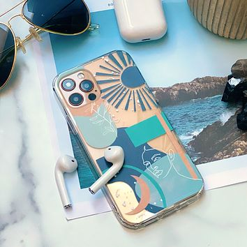 Teal Aesthetic Abstract Clear Phone Case