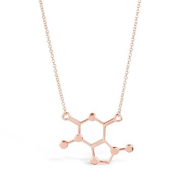 Rose Gold Caffeine chemical Molecule Necklace for Coffee Lovers