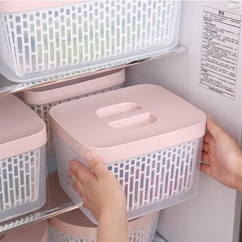 Double-Layer Drain Basket With Lid Fresh-Keeping Box Household Refrigerator Food Storage Box Kitchen Plastic Portable Vegetable Washing Basket