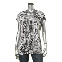 JM Collection Womens Short Sleeves Gathered Pullover Top