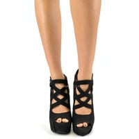 Cleo Cleo Black Cutout Caged Heels