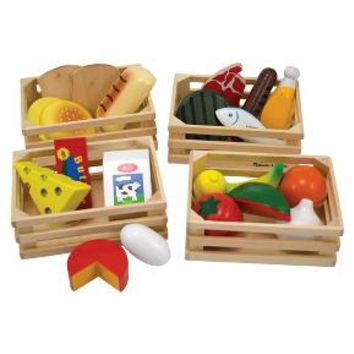 Melissa & Doug® Food Groups - 21 Hand-Painted Woodenpc and 4 Crates