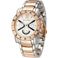 Bvlgari men and women fashion watch quartz watch F Silver + Rose Gold Watchband + Rose Gold Case