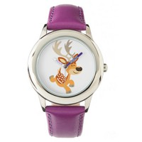 Cute Cartoon Gamboling Fallow Deer Watch