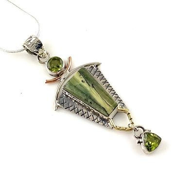 Imperial Opal & Peridot Sterling Silver Three Tone Pendant
