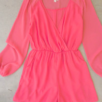 Coney Island Romper in Coral [6971] - $44.00 : Feminine, Bohemian, & Vintage Inspired Clothing at Affordable Prices, deloom