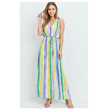 Spring into Action Striped Halter Dress