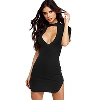Women Sexy Fashion Low-cut V Neck Dress Black Color Short Sleeves Short Mini Dress moda feminina kleid vestidos cortos TT