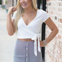 All Natural Surplice Crop Top: White