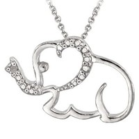 """Sterling Silver Diamond Accented Elephant Necklace 18"""""""
