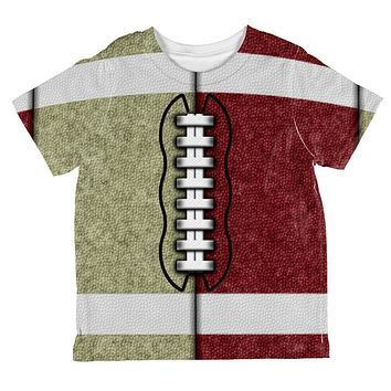 Fantasy Football Team Beige and Maroon All Over Toddler T Shirt