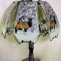 Bull Elk In Winter 3 Way Touch Table Lamp With Glass Shade w/ Black Chrome