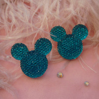 Teal Blue Mouseketeer Stud Earrings by imyourpresent on Etsy