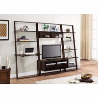Solid Desk, Wall Bookcases & Entertainment Center