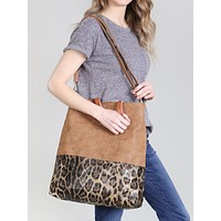 LEATHER WITH LEOPARD PRINT TOTE BAG