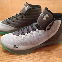 UNDER ARMOUR UA Mens Curry 3 Basketball Shoes Sneakers Gray Green 1269279 289 13