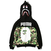 BAPE AAPE X PUMA Trending Women Men Stylish Green Camouflage Print Shark Mouth Hooded Sweater Zipper Cardigan Jacket Coat I13833-1