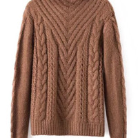 Stand-Up Neck Long Sleeve Pure Color Loose-Fitting Sweater