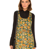 Bridget Pinafore Dress in Indian Summer Green Cord by Motel