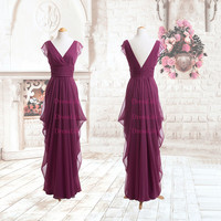 v-neck Ruched  Chiffon Floor-length prom dresses/Cocktail /cap sleeve prom dress/ evening dress on sale/prom dress 2014 long formal/x022