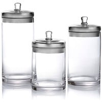 Glass Canisters w/ Silver Lids, Set of 3, Kitchen Canisters, Canning & Spice Jars