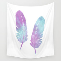 Boho Feather Watercolor Purple and Blue Wall Tapestry by Cute To Boot
