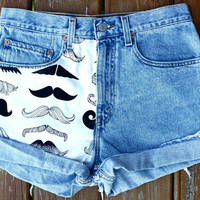 Mustache You a Question Levi's by SpikesnSeams on Etsy