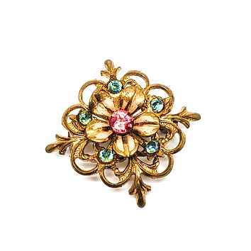 Art Nouveau pink and aqua blue painted enamel flower brooch with c clasp