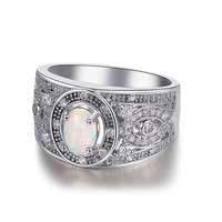 Antiqued Styled King&Queen Shinning Silver Sterling 925 Opal Ring.