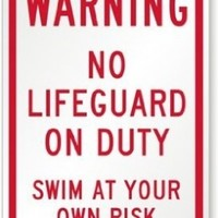 """Swimming Pool Signs K-8181 Plastic Warning Sign, Legend """"Warning: No Lifeguard On Duty, Swim At Your Own Risk"""", Red on White:Amazon:Industrial & Scientific"""